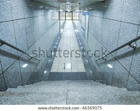 Stair in underground passage - stock photo