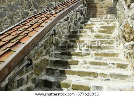 Stair of rough stone - stock photo
