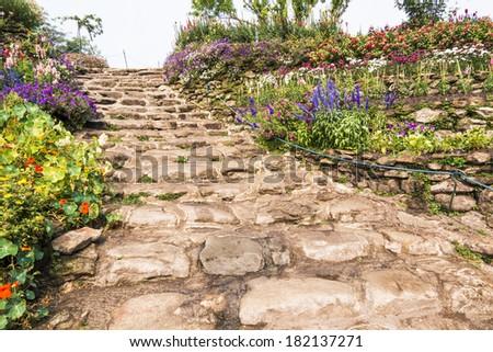 stair outdoor in garden - stock photo