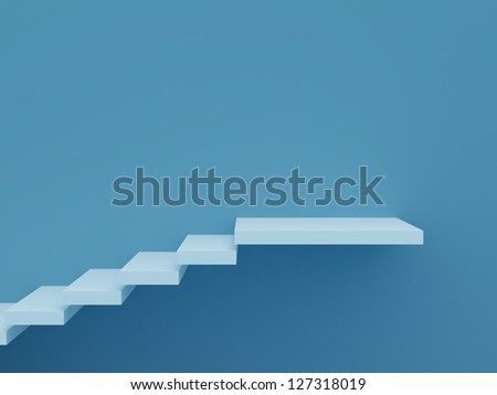 Stair steps on blue background wall. - stock photo