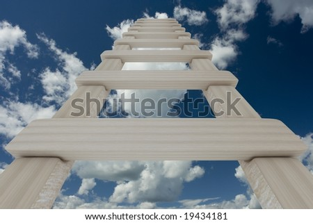 Stair to sky. 3D image. - stock photo