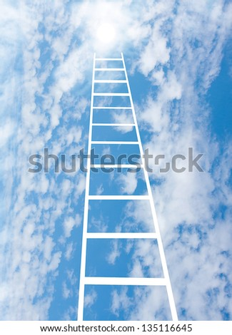 stair upwards in sky to a sun, collage - stock photo