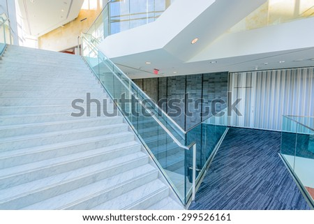 Staircase. Abstract fragment of the architecture of modern lobby, hallway of the luxury hotel, shopping mall, business center in Vancouver, Canada. Interior design. - stock photo