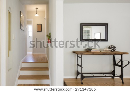 Staircase and chest with wooden floor.  - stock photo