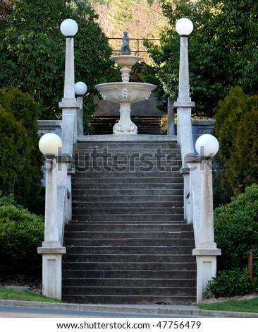 Staircase and fountain at Lithia Park, Ashland, Oregon - stock photo