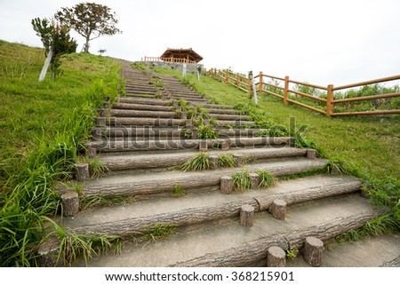 Staircase and pavilion - stock photo
