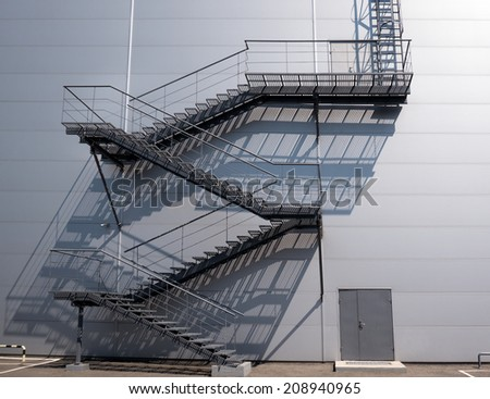 staircase and wall - stock photo
