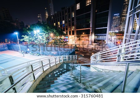 Staircase at night in Lower Manhattan, New York.
