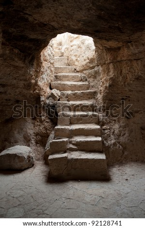 Staircase entrance to a shepherd's cave near the West Bank town of Bethlehem. - stock photo