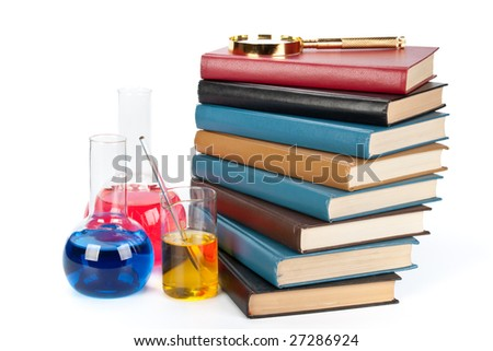 Staircase from books , flasks and a magnifier on a white background - stock photo