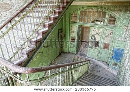 Staircase in a ruin - stock photo