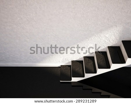 staircase in an empty room, 3d rendering - stock photo
