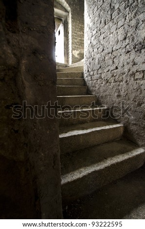 Staircase in old World War II fort - stock photo