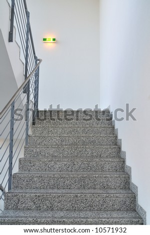 Staircase in the office with emergency light. - stock photo