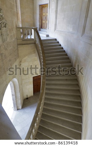 Staircase in the palace of Carlos V, Alhambra, Granada, Andalucia, Spain - stock photo