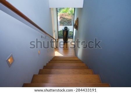 staircase in Two-storey house, home - stock photo