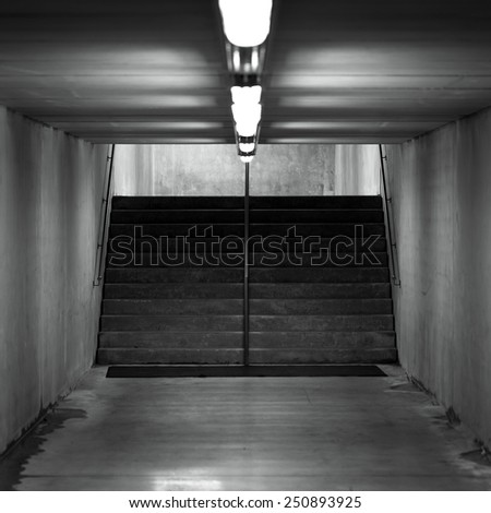 Staircase in underground passage - made from concrete material - stock photo