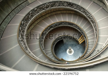 Staircase in Vatican museum - a wide angle view - stock photo