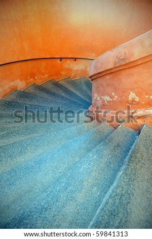Staircase inside San Luca Sanctuary. Bologna, Italy. - stock photo