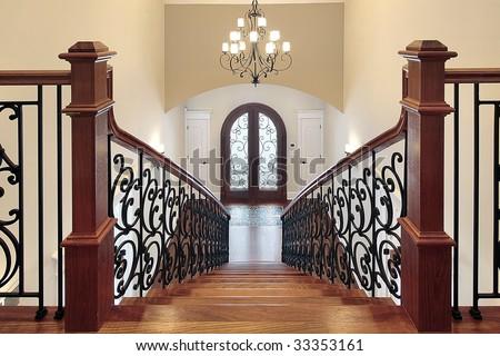 Staircase leading to foyer - stock photo