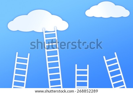 staircase leading to the clouds - stock photo