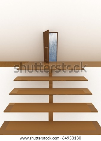 Staircase leading to the door of heaven. 3D - stock photo