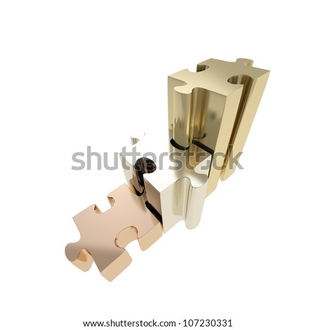 Staircase made of glossy silver, golden, bronze puzzle jigsaw pieces isolated on white - stock photo
