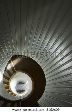 Staircase of famous historic lighthouse on the edge of San Diego - stock photo