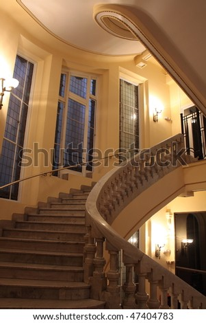 staircase of nineteenth century palace - stock photo