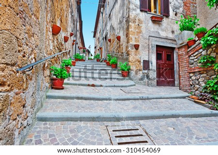 Staircase of the Narrow Street with Old Buildings in the Medieval Italian City  - stock photo