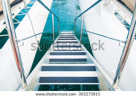 staircase on the yacht for playing water,boat