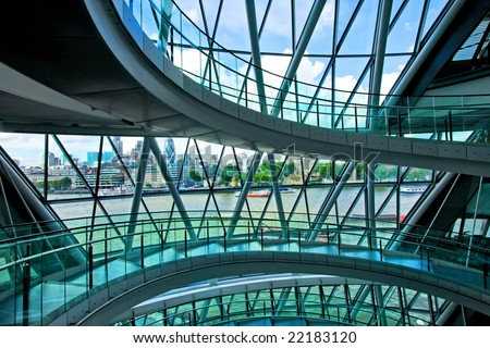 Staircase paths in front of big windows - stock photo