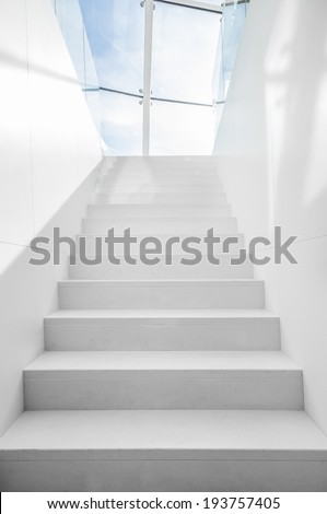 Staircase to blue sky - stock photo