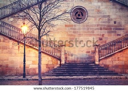 Staircase to Charles bridge in Prague - Czech Republic. - stock photo