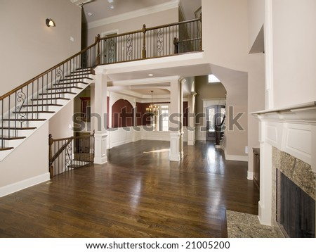 Staircase to Luxury Living Room Wide perspective - stock photo