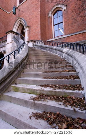 Staircase to the entrance of lecture hall in Vanderbilt university - stock photo
