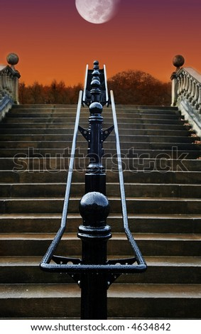 Staircase to the Moon on a Rain soaked night - stock photo