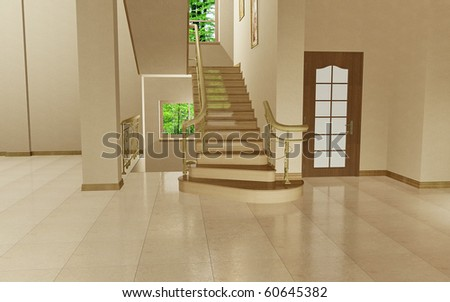 Staircase to the second floor in the empty interior - stock photo