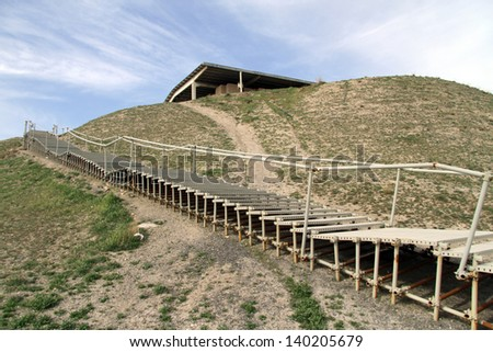 Staircase to the top of hill with fortress Nush-e Jam near Malayer, Iran
