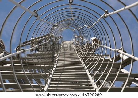 Staircase to the top of the telecommunication tower