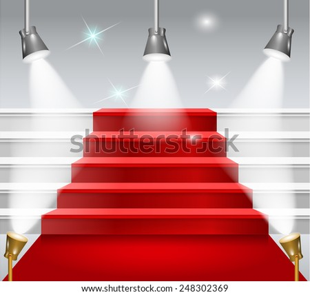 staircase with red carpet - stock photo