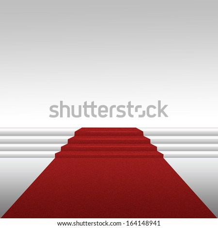 Staircase with red carpet ascent stage
