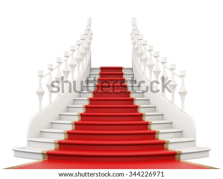 Staircase with red carpet isolated on white background. Front view. 3d rendering. - stock photo