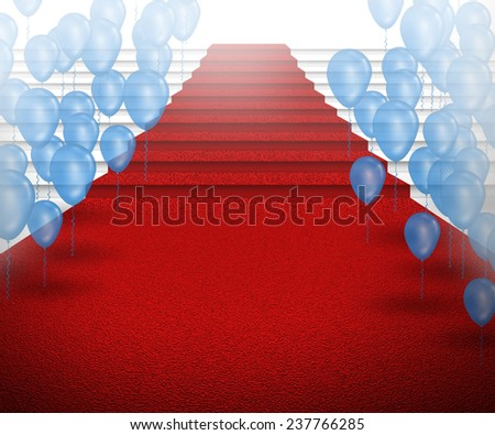 staircase with red carpet with balloons - stock photo