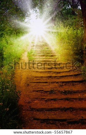 Staircase with sun, way to heaven - stock photo