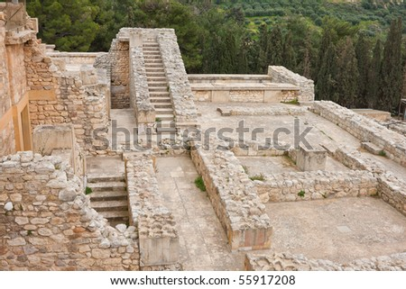 Staircases at Knossos Archeological Site in Crete, Greece - stock photo