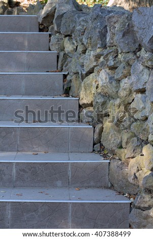 stairs. Abstract modern concrete stairs to building - stairway composition. stone steps. - stock photo