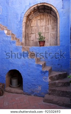 Stairs and blue wall in Arequipa - stock photo