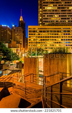 Stairs and buildings at night at the Inner Harbor in Baltimore, Maryland. - stock photo