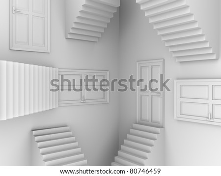 Stairs and doors. Abstract scene in white. 3d render - stock photo